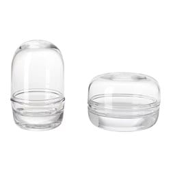 SAMMANHANG Glass dome with base, set of 2