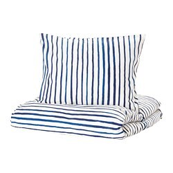 SÅNGLÄRKA quilt cover and pillowcase, striped, blue white