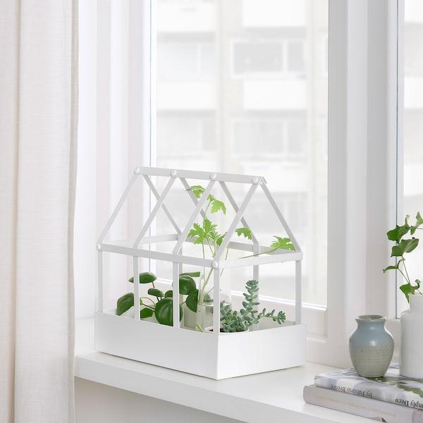 SENAPSKÅL Decoration greenhouse, in/outdoor white, 29 cm