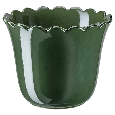 SHARONFRUKT Plant pot, in/outdoor green, 15 cm