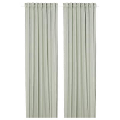SILVERLÖNN Sheer curtains, 1 pair, light green, 145x300 cm