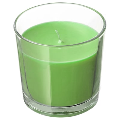SINNLIG Scented candle in glass, Apple and pear/green, 9 cm