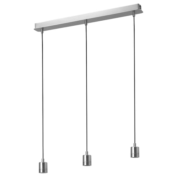 SKAFTET Triple cord set with ceiling mount, nickel-plated rectangle