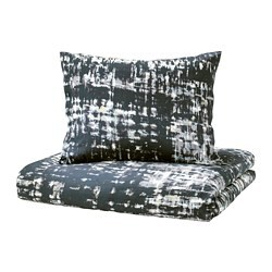 SKOGSLÖNN quilt cover and 2 pillowcases, black, multicolour