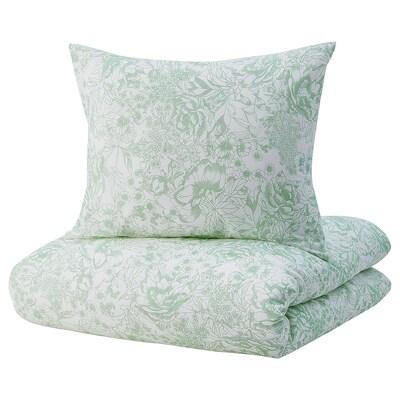 SKOGSSTARR Quilt cover and 2 pillowcases, green, 240x220/50x60 cm