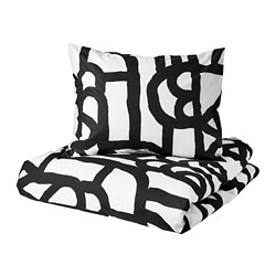 SKUGGBRÄCKA quilt cover and pillowcase, white, black