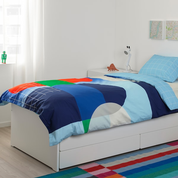 SLÄKT bed frame with underbed and storage white 100 kg 206 cm 96 cm 90 cm 57 cm 56 cm 78 cm 193 cm 200 cm 90 cm