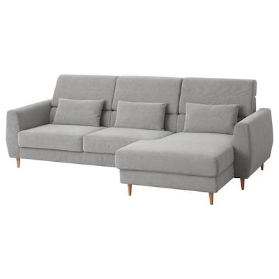 SLATORP 3-seat sofa, with chaise longue, right/Tallmyra white/black