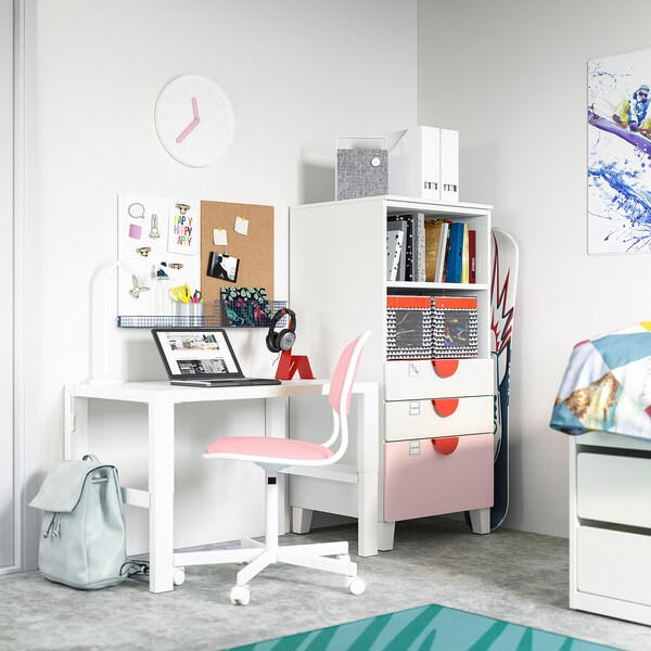SMÅSTAD / PLATSA Bookcase, white pale pink/with 3 drawers, 60x55x123 cm