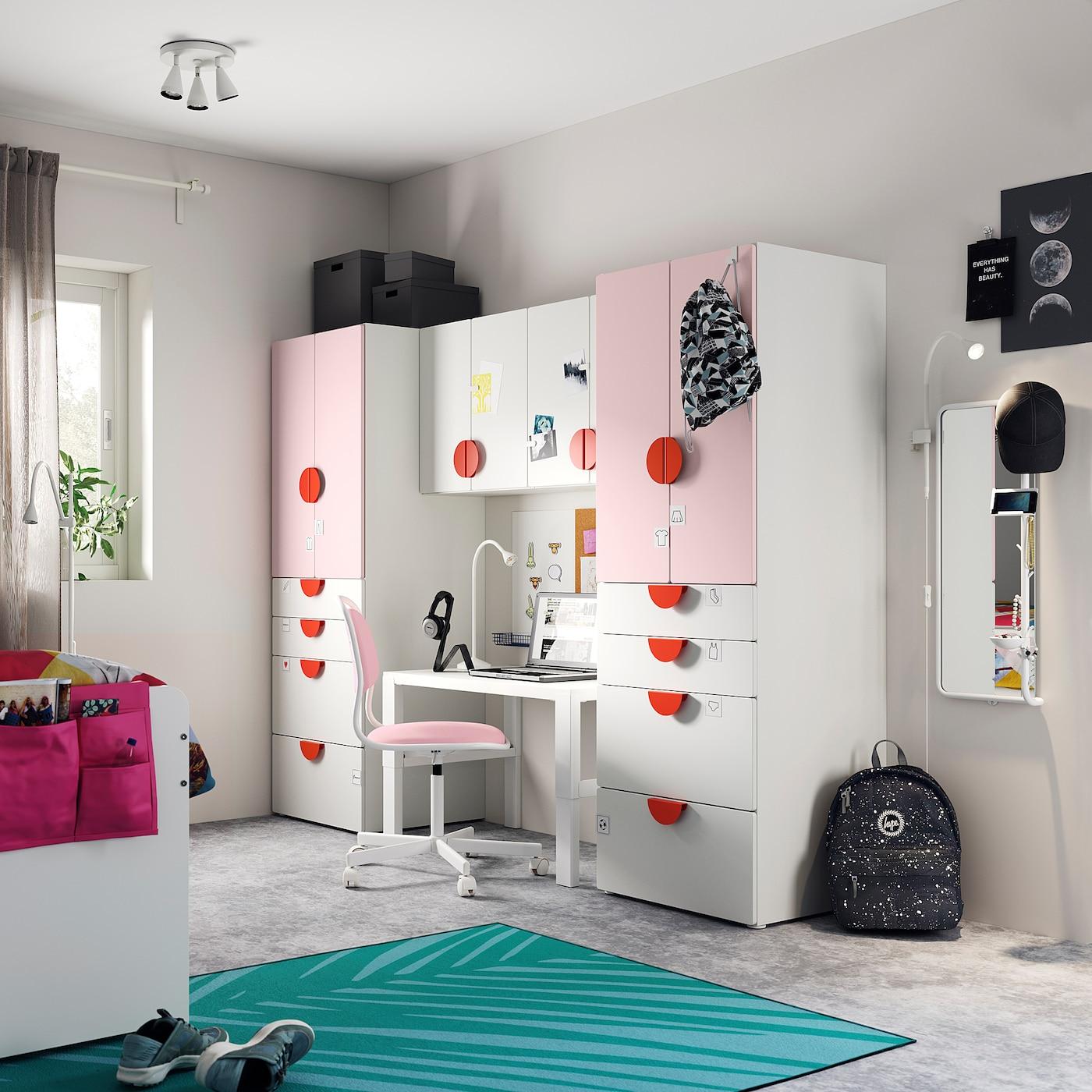 SMÅSTAD Storage combination, white/pale pink, 240x57x181 cm