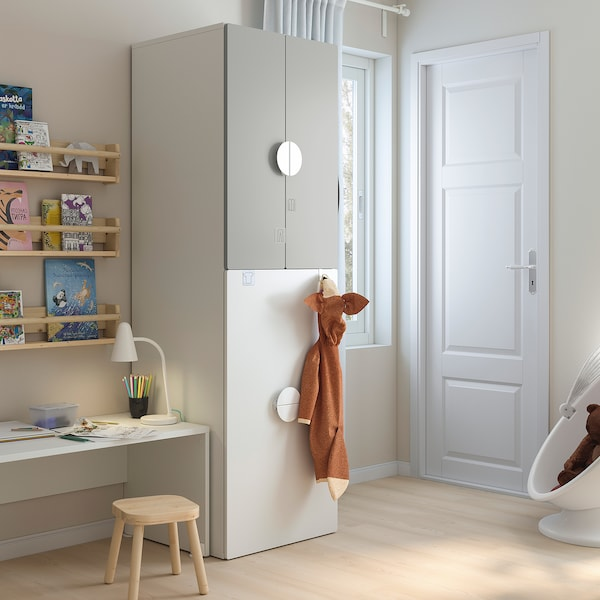 SMÅSTAD Wardrobe with pull-out unit, white grey/with clothing rod, 60x55x196 cm