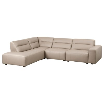 SNOGGE Corner sofa, 3-seat, with open end, left/Grann dark beige