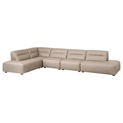 SNOGGE Corner sofa, 4-seat, with open ends/Grann dark beige