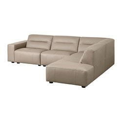 SNOGGE corner sofa, 3-seat, with open end, right Grann, Grann dark beige