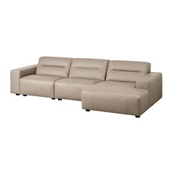 SNOGGE 3-seat sofa, with chaise longue, right Grann, Grann dark beige