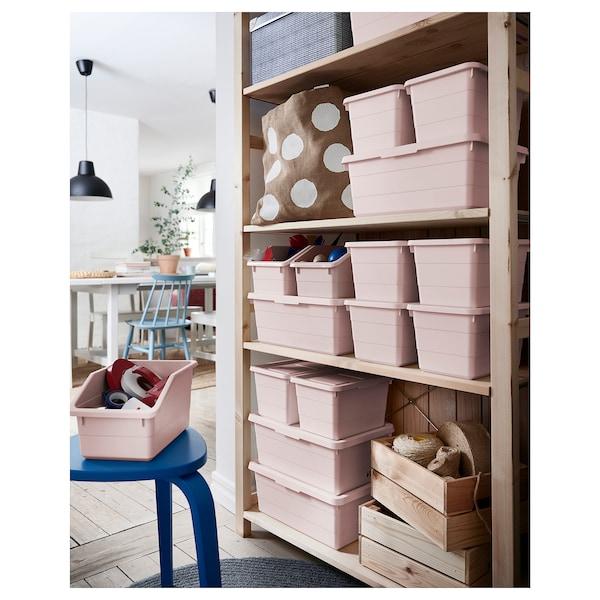 SOCKERBIT Box with lid, pink, 38x25x15 cm