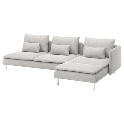 SÖDERHAMN 4-seat sofa, with chaise longue and open end/Tallmyra white/black