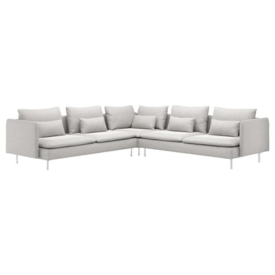 SÖDERHAMN Corner sofa, 6-seat, Tallmyra white/black