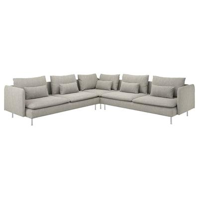 SÖDERHAMN Corner sofa, 6-seat, Viarp beige/brown