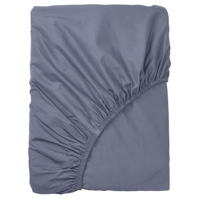 SÖMNTUTA fitted sheet blue-grey 400 /inch² 200 cm 90 cm