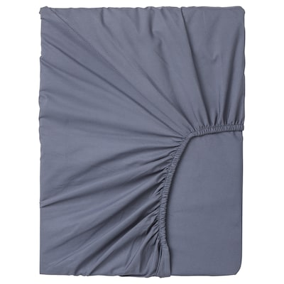 SÖMNTUTA fitted sheet for mattress pad blue-grey 400 /inch² 200 cm 160 cm 8 cm