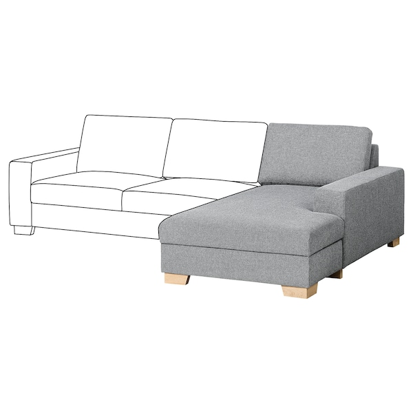 SÖRVALLEN Chaise longue section, right/Lejde grey/black