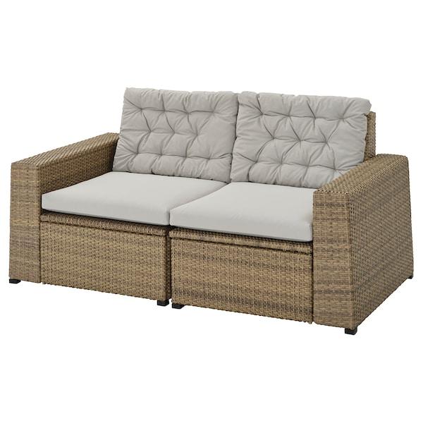 SOLLERÖN 2-seat modular sofa, outdoor, brown/Kuddarna grey, 161x82x84 cm
