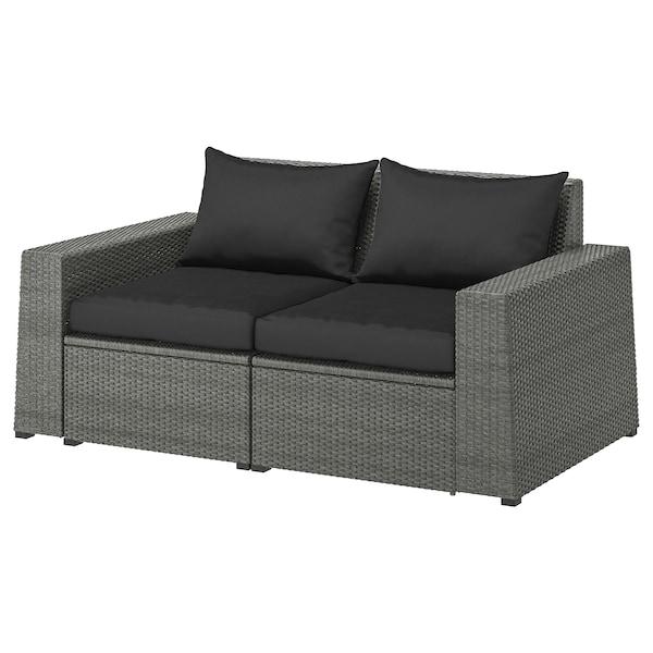 SOLLERÖN 2-seat modular sofa, outdoor dark grey/Hållö black 161 cm 82 cm 82 cm 125 cm 54 cm 40 cm