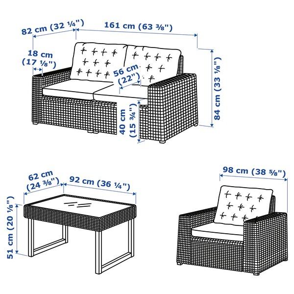 SOLLERÖN 4-seat conversation set, outdoor, dark grey/Kuddarna beige