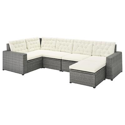 SOLLERÖN modular corner sofa 4-seat, outdoor with footstool dark grey/Kuddarna beige 82 cm 84 cm 287 cm 162 cm 2 cm 56 cm 40 cm 62 cm 62 cm