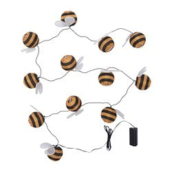 SOLVINDEN LED lighting chain with 12 lights, battery-operated, outdoor bumblebee