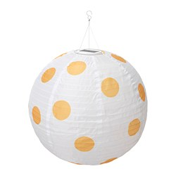 SOLVINDEN LED solar-powered pendant lamp, outdoor globe, spotted yellow