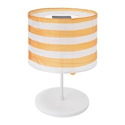 SOLVINDEN LED solar-powered table lamp, outdoor, striped yellow/white