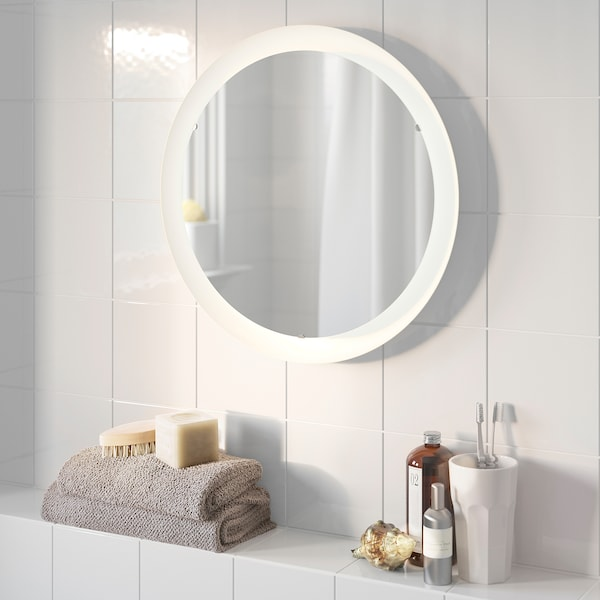 STORJORM Mirror with integrated lighting, white, 47 cm