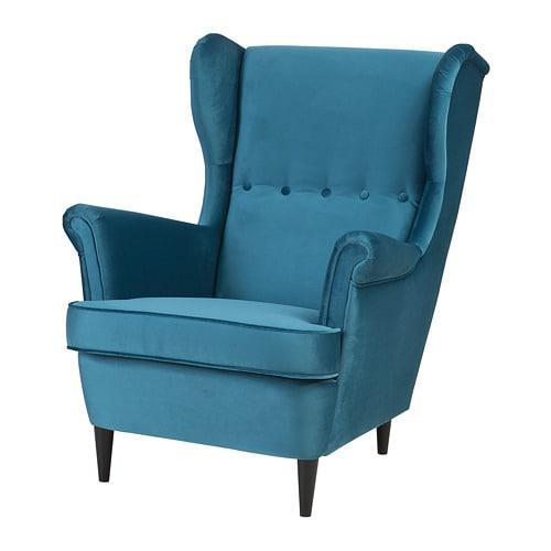 strandmon wing chair velvet turquoise ikea. Black Bedroom Furniture Sets. Home Design Ideas