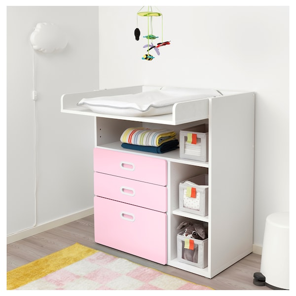 Stuva Fritids Changing Table With Drawers White Light Pink