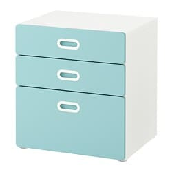 STUVA /  FRITIDS chest of 3 drawers, white, light blue