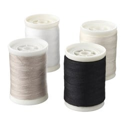 SY sewing thread, white/black, natural colour