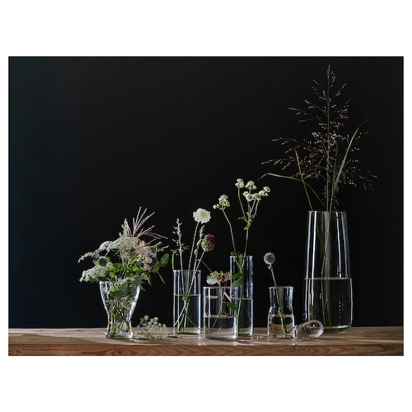 TIDVATTEN Vase, clear glass, 17 cm