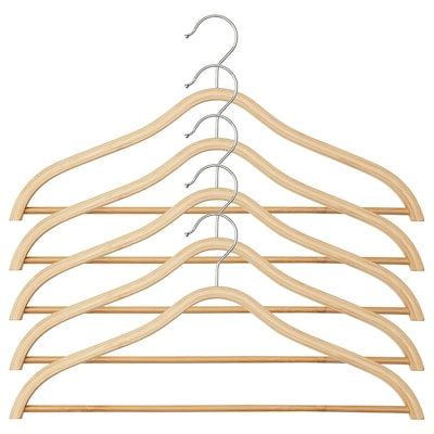 TJENARE Curved clothes hanger, bamboo, 5 pack