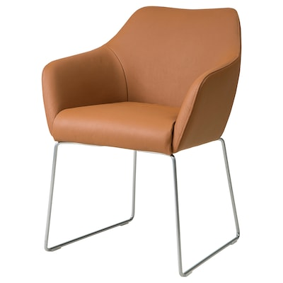 TOSSBERG Chair, metal silver-colour/Grann light brown
