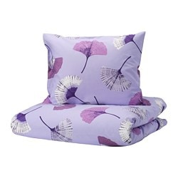 TOVSIPPA quilt cover and pillowcase, lilac, floral patterned