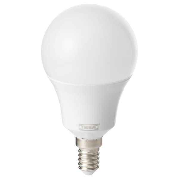 TRÅDFRI LED bulb E14 600 lumen, wireless dimmable white spectrum/globe opal white