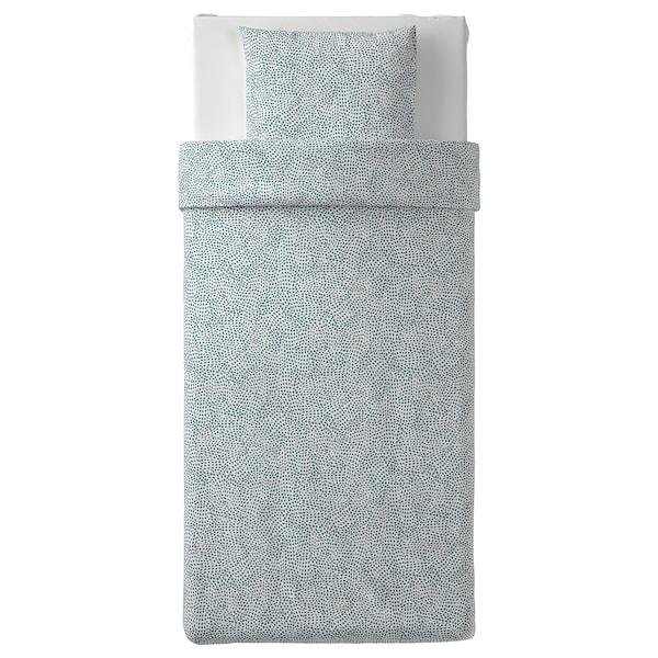 TRÄDKRASSULA Duvet cover and pillowcase, white/blue, 150x200/50x60 cm