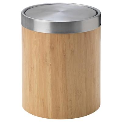 TRÄSKET Waste bin, stainless steel/bamboo veneer, 3 l