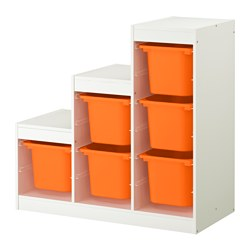 TROFAST storage combination, white, orange