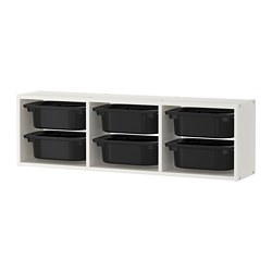 TROFAST wall storage, white, black
