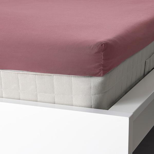 ULLVIDE Fitted sheet for mattress pad, dark pink, 140x200 cm