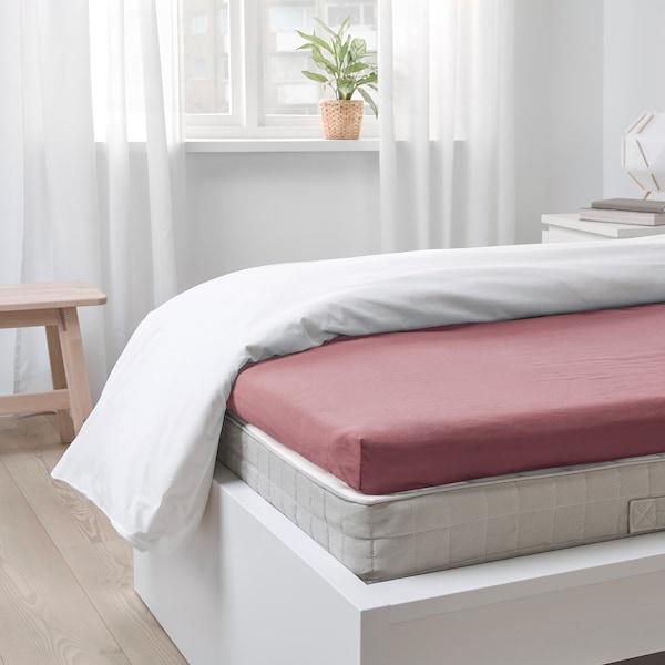 ULLVIDE Fitted sheet for mattress pad, dark pink, 90x200 cm