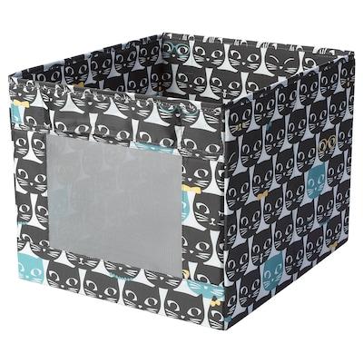 UPPRYMD Box, white/black patterned, 38x42x33 cm